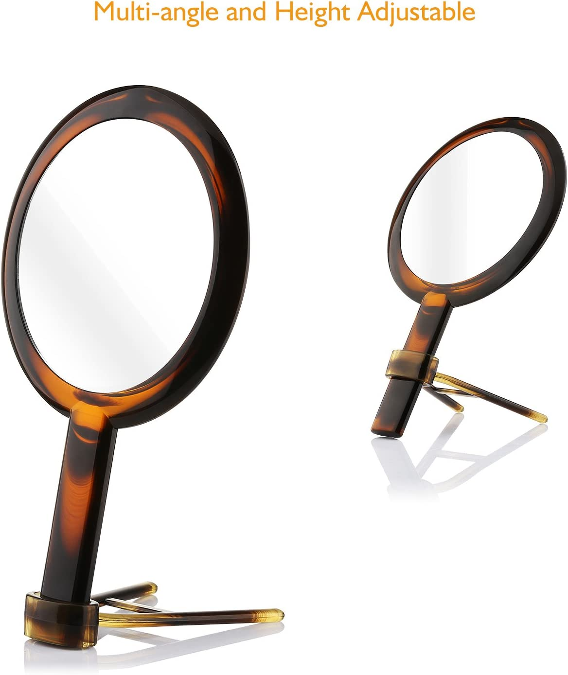 Beautifive Hand Mirror, Hand Held Mirrors with Adjustable Handle,1x/7x Magnifying Double Sided Handheld Makeup Mirror with Stand for Vanity Beauty Travel Table Desk Shaving Bathroom (AmberNEW): Furniture & Decor