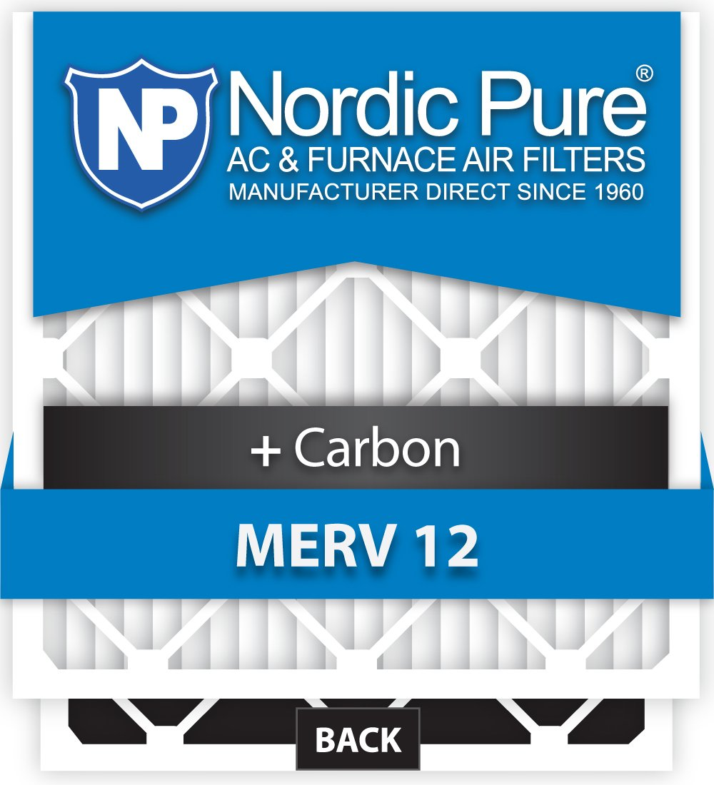 Nordic Pure 14x20x1M12+C-6 MERV 12 Plus Carbon AC Furnace Air Filters, Qty-6