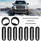 old style vent cover - Car Mesh Grill Inserts with Angry Headlight Bezels Fits Fashion Vent Trim Ring Cover for Jeep for Wrangler 2007-2016