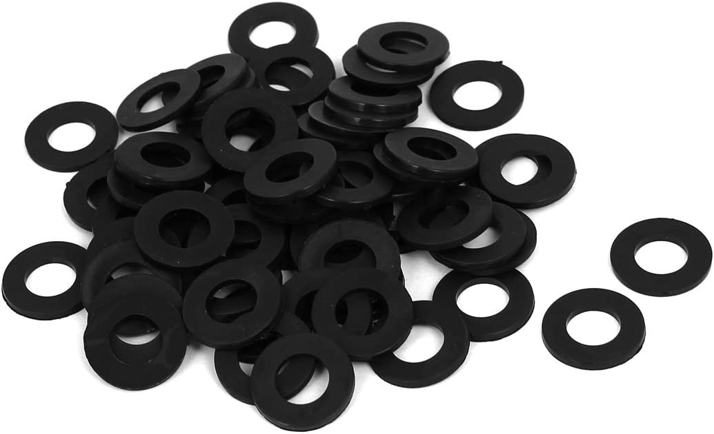 Pack of 100 uxcell Nylon Flat Washers M8 16mm OD 8mm ID 1.4mm Thickness for Faucet Pipe Water Hose