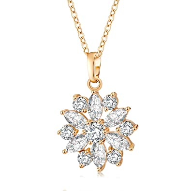 YAZILIND Jewelry Shining Fashion Color Zirconia Flower Shape Rose Gold Plated Pendant Necklace for Women Girls hb9tK