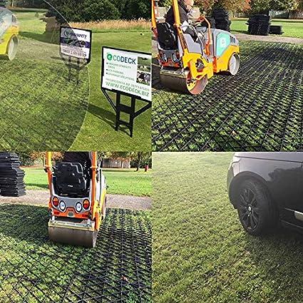 Rejilla para base de pavimentación de jardín=kit completo ecológico de 2, 1 m x 1, 2 m + rejilla de plástico ecológico y membrana resistente para base de ...
