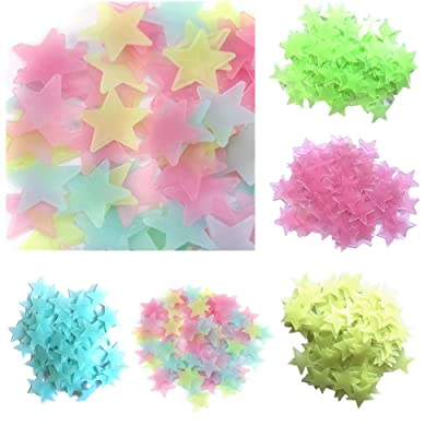 500Pcs 3CM Glow in The Dark Wall Decals Stars Stickers for Home Ceiling Wall Baby Kids Bedroom (Multicolor): Kitchen & Dining