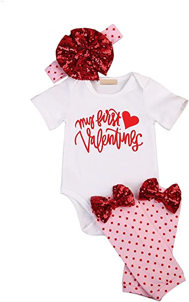 US Newborn Baby Girls Clothes Romper Shirt Tops+Pants Leggings+Hat Outfits Sets