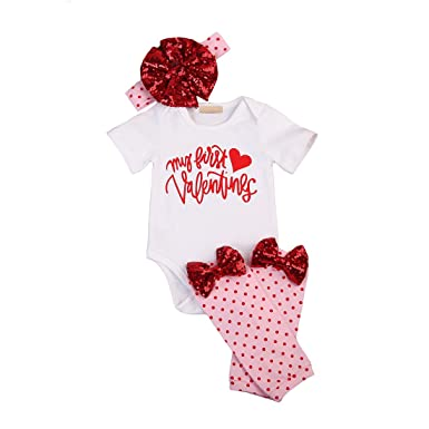 64e9293939b Amazon.com  Newborn Baby Girls Outfit Valentine s Day Romper Jumpsuit and  Pants Hose Leggings 4pcs Clothes Set  Clothing