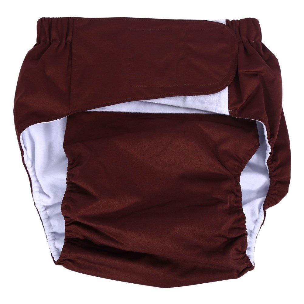 Pañal de Bolsillo para Adultos Pañal Ajustable Pañal Pantalones Lavables para Pañales Reutilizables para el Cuidado de la Incontinencia (Color : Marrón) : ...