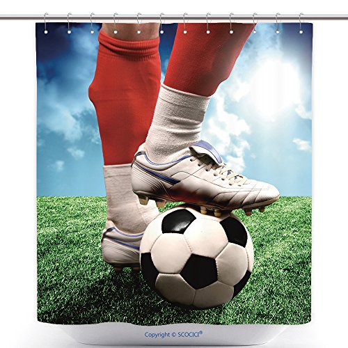 Polyester Shower Curtains A Close Up Of A Soccer Ball And A Feet Of A Soccer Player_2752482 Polyester Bathroom Shower Curtain Set With Hooks by