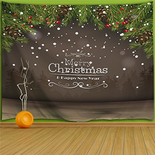 Colorful Star Merry Christmas Design Wall Hanging Tapestry ,Machine-washable&Antibacterial&Eco-Friendly made of 100% Polyester Fabric ,Non Toxic, Odor Free,No Fading 90