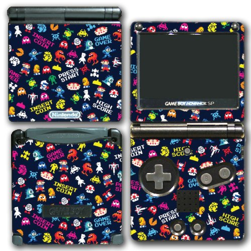 Retro Video Game Pixel Art Mega Man Bubble Bobble Galaga Game Over Insert Coin Mario Video Game Vinyl Decal Skin Sticker Cover for Nintendo GBA SP Gameboy Advance System