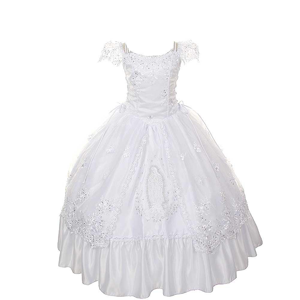 Rain Kids Girls 8 White Virgin Mary Organza First Communion Dress