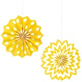 Amscan Party Supplies Printed Paper Fans-Yellow Sunshine (12 Piece), Multi