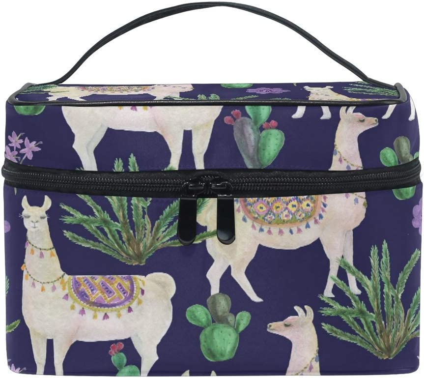 Bolsa de Maquillaje de Viaje Flor Cactus Alpaca Llama Estuche cosmético portátil Organizador Bolsa de Aseo Bolsa Estuche de Tren de Maquillaje para Mujer: Amazon.es: Equipaje