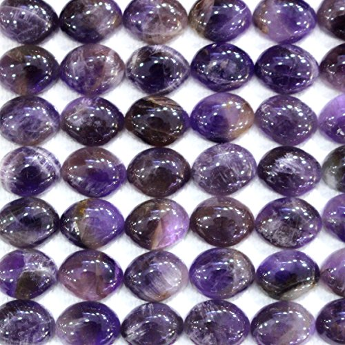 10pcs Natural Gemstone Oval 810mm Cabochons for Jewelry Making Beads Cabs (amethyst)