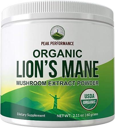 Organic Lions Mane Mushroom Powder (USA Grown) by Peak Performance. USDA Organic Lion's Mane Powder Nootropic Supplement for Memory, Focus, Brain Health, Immune Support. Lion Mane Mushrooms Extract