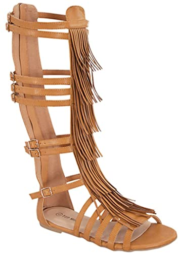 a40fd76e4450 Top Guy Long-12 Womens Fashion Flat Knee High Fringe Tassel Gladiator  Sandals Tan 5.5