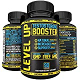 LEVEL UP Testosterone Booster for men - Testosterone Supplement for Libido, Stamina, Male Performance, Muscle Growth, Fat Loss! With Horny Goat Weed, Longjack, Tribulus, Chrysin. 90 Veg Capsules