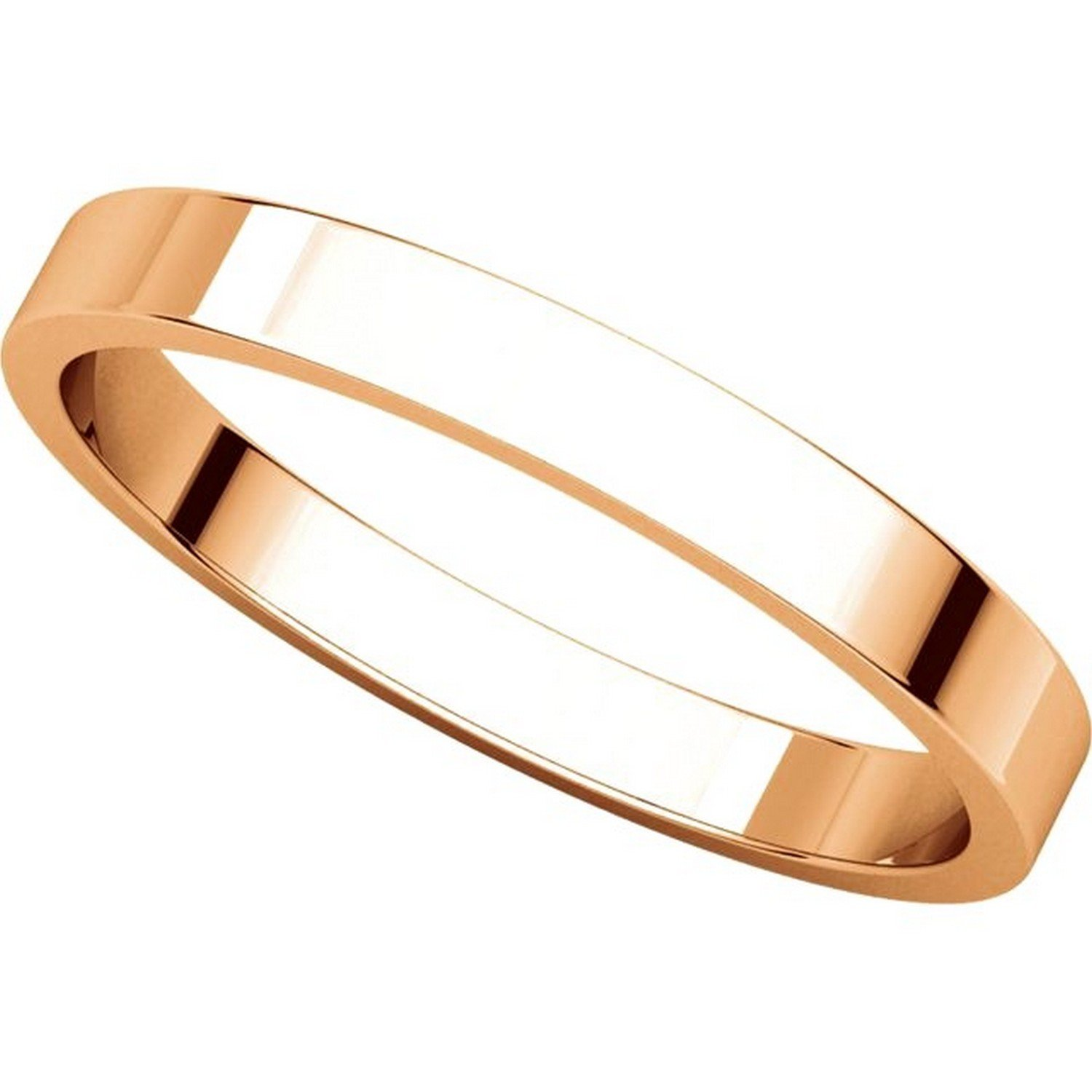 Mens and Womens 14k Rose Gold Plain Wedding Band 2.5mm Wide Flat