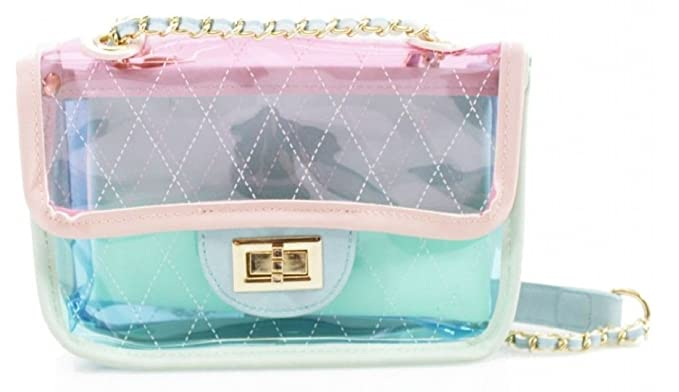 Quilted Faux Leather Chevron Waves Zig Zag Jelly Transparent Clear Shoulder  Clutch Bag Evening Cross Body 9bd58d540c63b