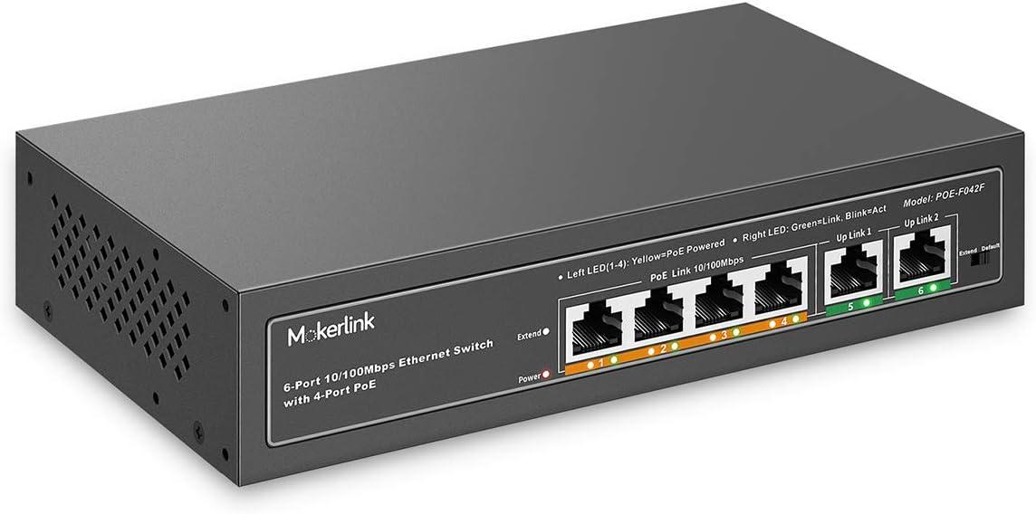 mokerlink 4 Puertos PoE Switch, 2 UpLink Puerto, 100Mbps, PoE Plus 802.3af/at, Alta Potencia de 78W, Soporte IEEE802.3af/at, Plug & Play PoE+ de Metal sin Ventilador