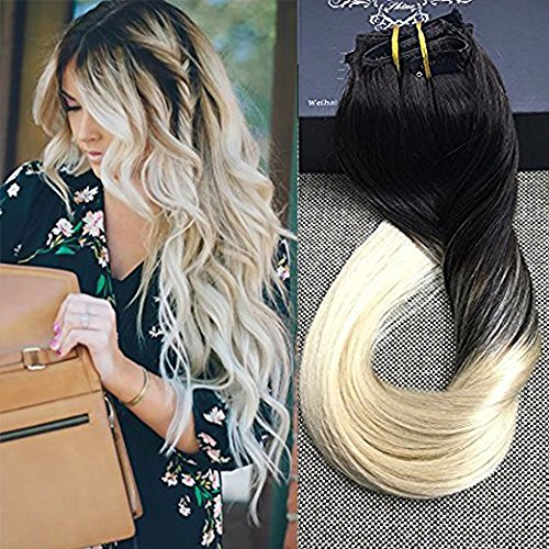 "Full Shine 14"" 10 Pcs 100gram Dip Dye Hair Color #1B Fading to Blonde Color #613 Blonde Balayage Extensions Best Quality Clip in Human Hair Extensions Made by Real Hair Clip in Extensions"