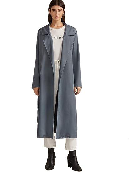 MAKEMECHIC Womens Elegant Waterfall Collar Knot Cuff Self Belted Trench Coat