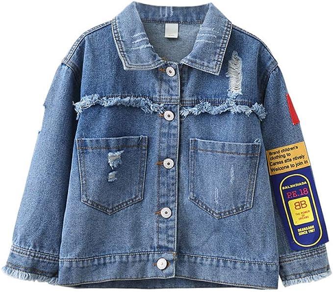 LEEFTM Chaqueta De Moda para Niña Camisa Vaquera Estampada con Personalidad De Otoño para Niños,Blue-3-4Years(110): Amazon.es: Hogar