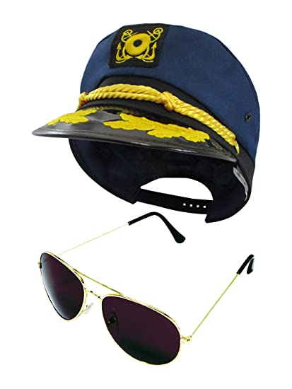 d4b8982006aee Amazon.com  Yacht Skipper Boat Captain Hat Sailor Ship Cap Navy Blue Gold  Aviator Sunglasses  Clothing