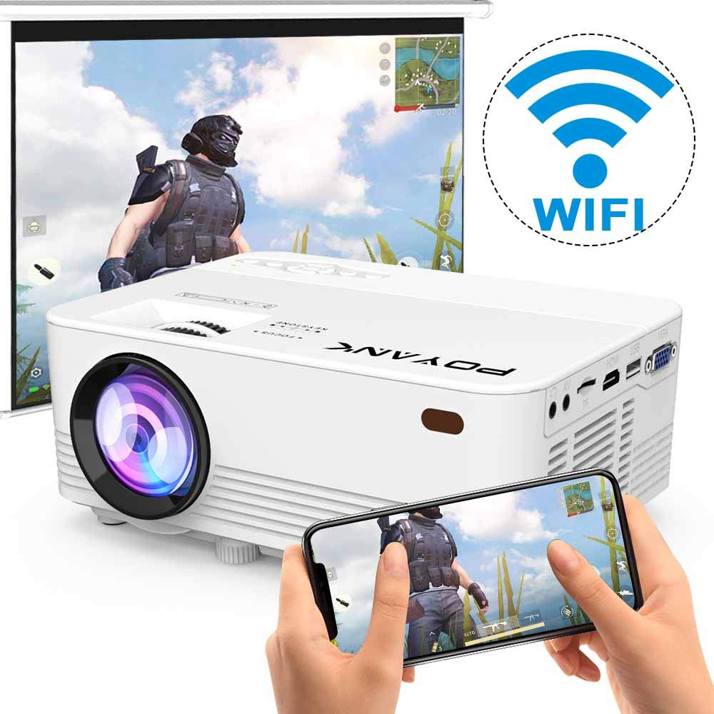 [Wireless Projector] POYANK 2800Lux LED Wireless Mini Projector, WiFi Projector Compatible with Smartphones, Video Games, TV Box Full HD 1080p Supported (WiFi Model) by POYANK