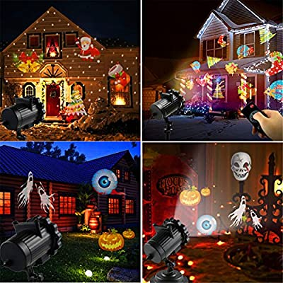 Halloween Party Holiday Christmas Projector Light LED Landscape 16 Slideshow Dynamic Lighting Show Highlights Spotlight Birthday Easter Wedding 2017 Newest Version Multifunctional RF Remote Control