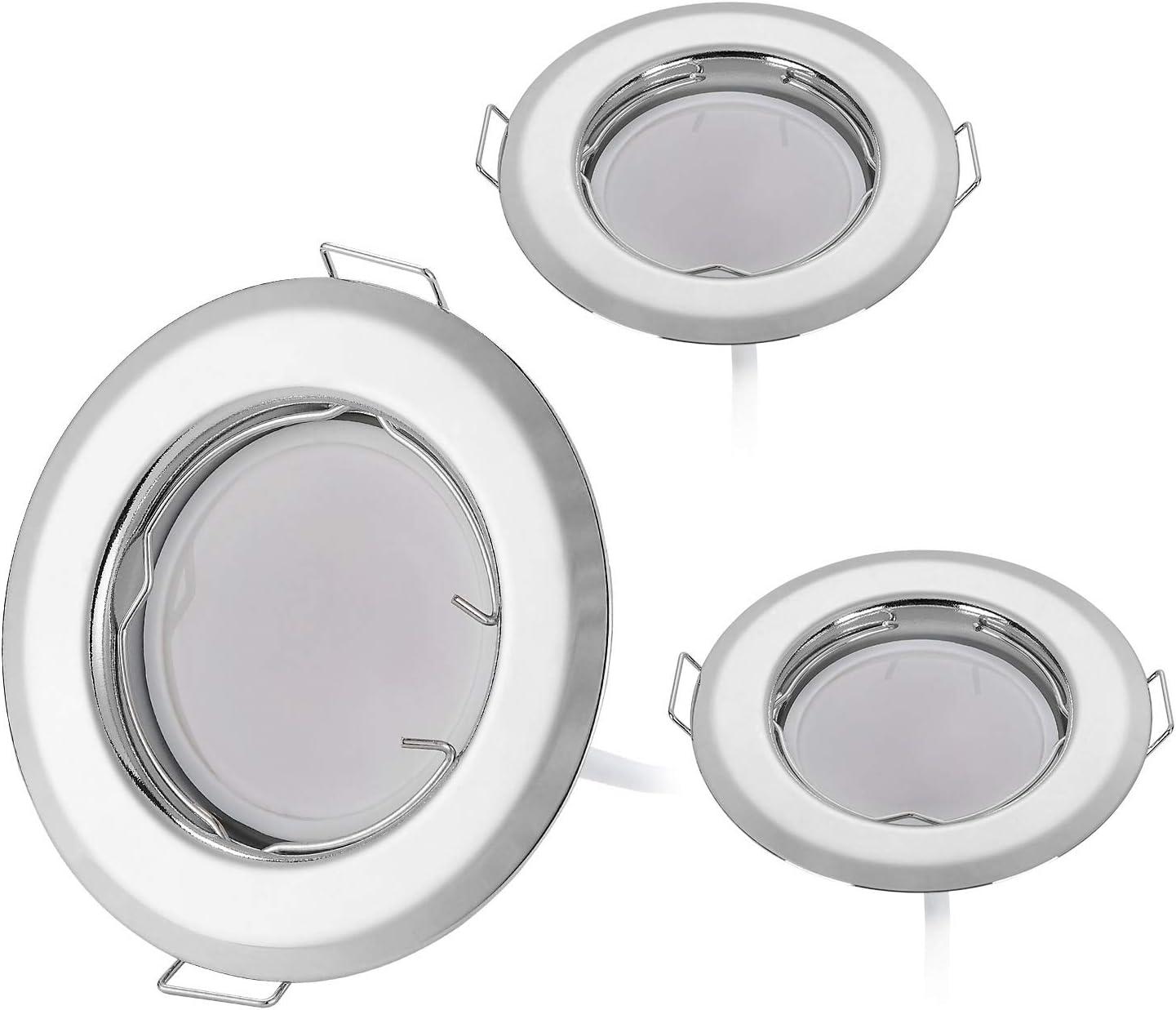Juego de 3 focos LED empotrables ultraplanos de con m/ódulo LED 230V I 3W 320lm I blanco c/álido 3000 K I /ángulo de haz de 120/° I cromo I 55 mm agujero de montaje I l/ámpara empotrable redonda