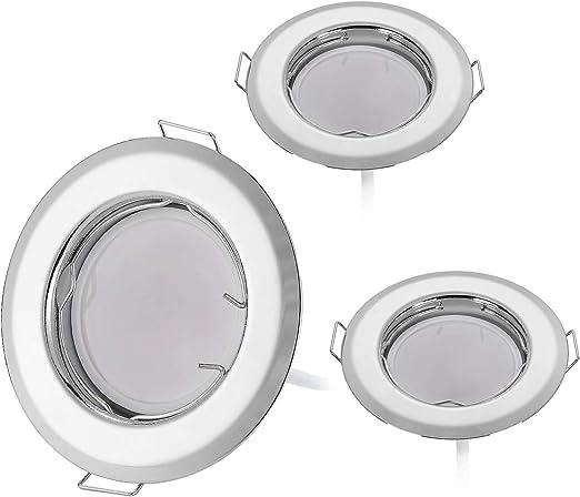 HCFEI Lot de 3 spots LED encastrables ultra plats avec module LED 230 V 3 W 320 lm I Blanc chaud 3000 K I 120 /° Angle de faisceau I Chrome I 50-55 mm trou de montage I