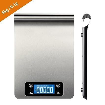 HWeggo Báscula de cocina digital profesional Electro Báscula de cocina industrial con función de termómetro y