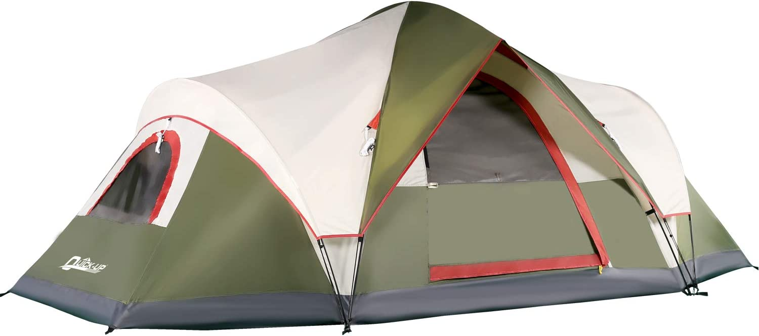 QUICK-UP 6 Person Tents for Family Camping, Quick Easy Set Up, Instant Pop Up Dome Outdoor Tent, Waterproof with Rainfly and Mesh Roofs & Door & Windows - 13.5' x7'