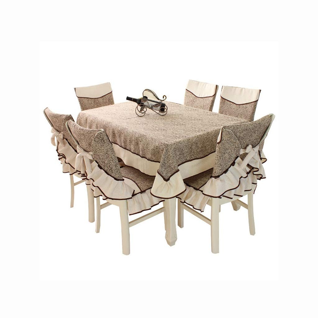 Coffee Table Cloth Tablecloth Rectangular Dining Table And Chair Cushion Dining Chair Cover European Shade Chair Cloth Set Household (Size : 6 sillas+mantel 150200)