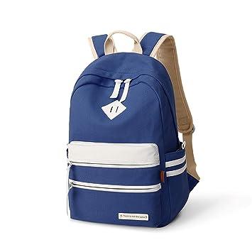 Meaningg marca sólido Corea mujeres mochila bolsa de escuela de lona para adolescentes estudiantes mochila franja señora Daily mochila Azul: Amazon.es: ...