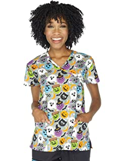 i love scrubs womens christmas print scrub tops