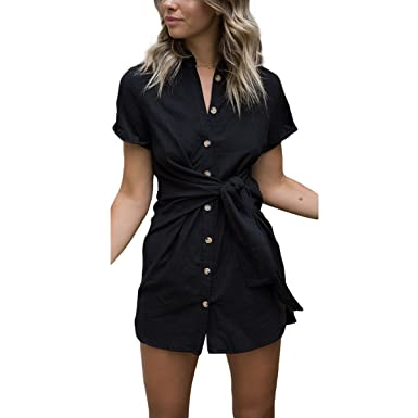 24e83d7207 ZMLIA Womens Turn-Down Collar Short Sleeve Self-tie Waist Button Down Shirt  Dress