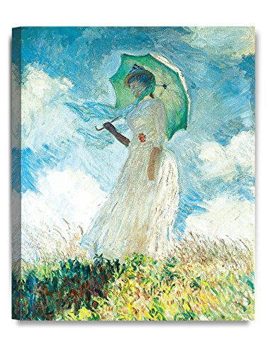 a Parasol (facing left) 1886, Claude Monet Art Reproduction. Giclee Canvas Prints Wall Art for Home Decor 20x16 ()