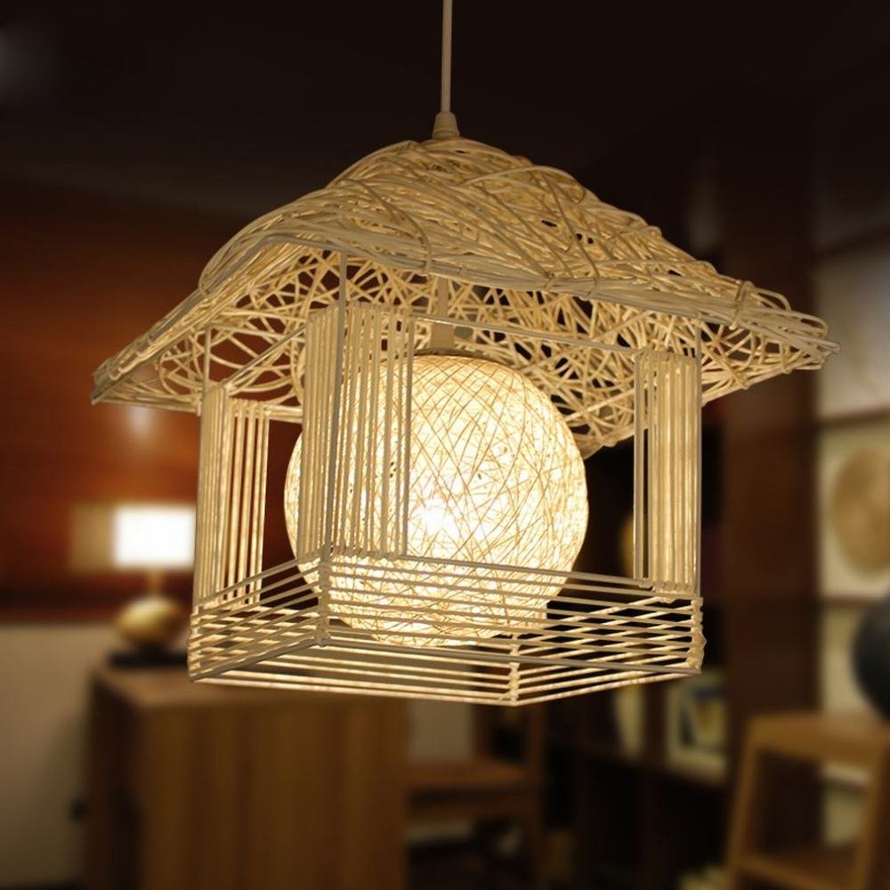 DEN Rattan nest handmade garden children's personality small house creative warm restaurant chandeliers,A,30cm
