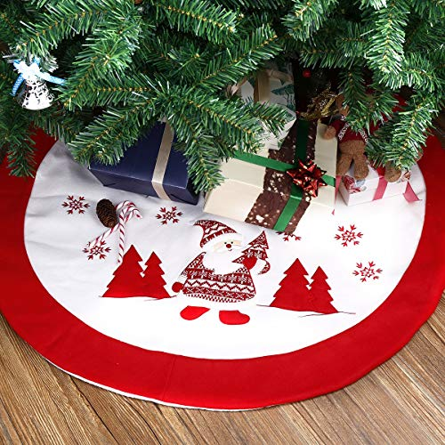 Totoose Christmas Tree Skirt 36 inches Cute Santa Claus Snowflake Holiday Week Christmas Day Gift Luxury Exquisite Soft Cotton Decoration Ornament for Xmas Holiday Indoor Home Office Red and White