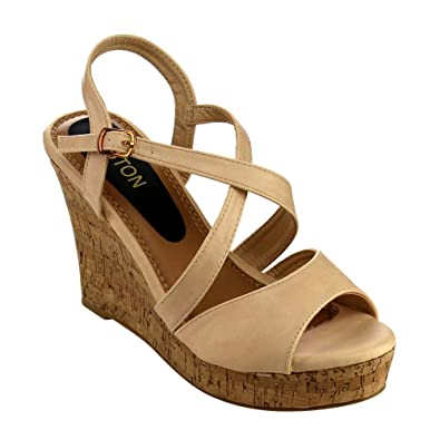 884c07415c1 Beston EA49 Women s Strappy Slingback Platform Wedge Sandals Run Half Size  Small