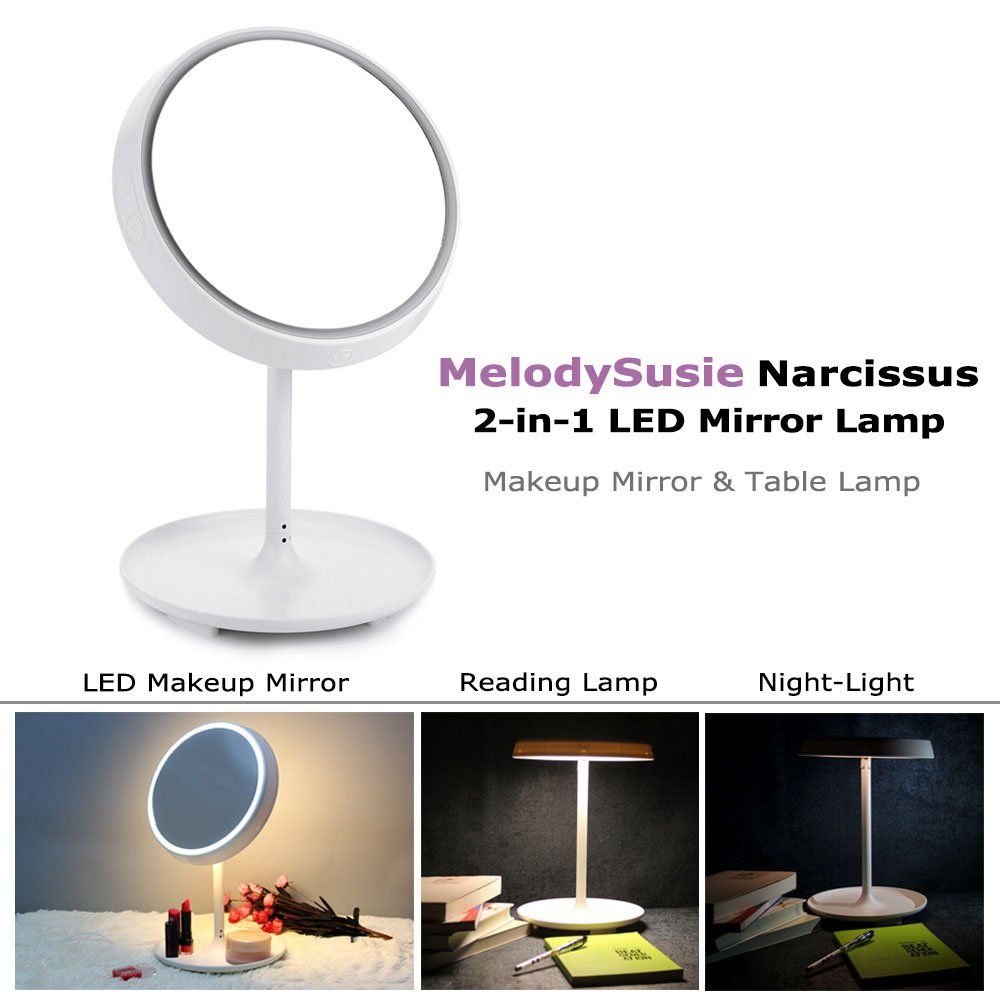 Amazon.com : MelodySusie Makeup Mirror Table Lamp   Narcissus Touch Control  LED Makeup Mirror And Table Lamp / 2 In 1 Mirror Lamp, Battery Operated Or  USB ...