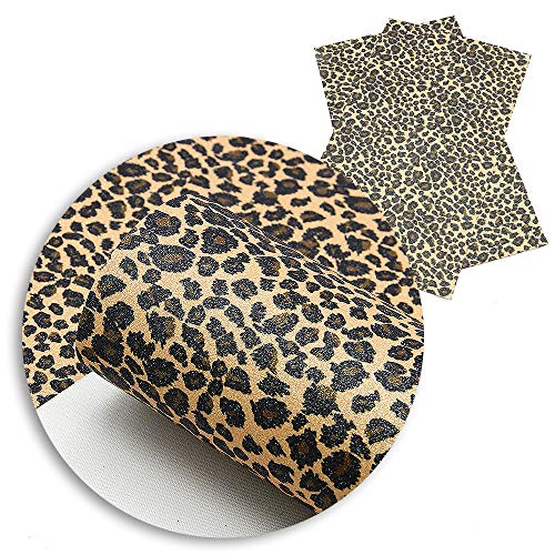 David Angie Fine Glitter Leopard Printed Faux Leather Fabric Sheet 5 Pcs 8