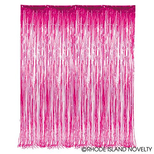 GiftExpress 2-Pack Pink Foil Fringe Curtain (2, Pink) for Party Backdrop/Party Photo Booth Backdrop/Pink Fringe Backdrop ()