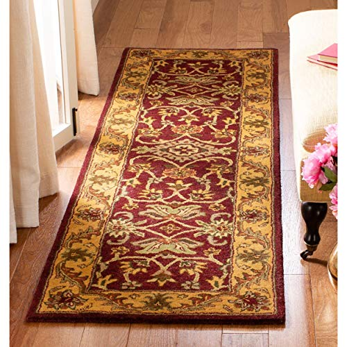 Safavieh Handmade Golden Jaipur Burgundy/Gold Wool Runner (2'3 x 12') - 2'3