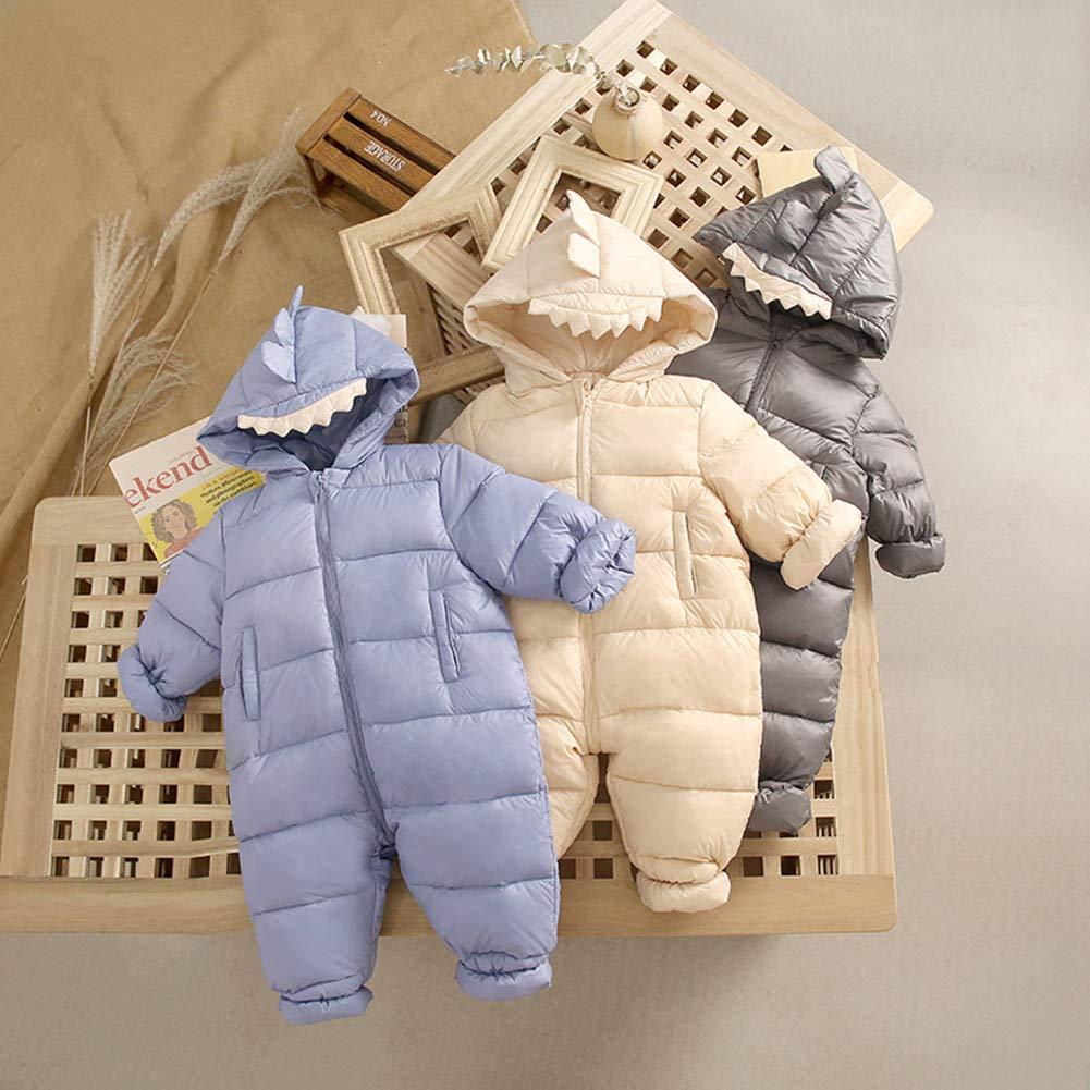 Happy Cherry Baby Girls Boys Kids Winter Romper Hooded Warm Cartoon Dinosaurs Snowsuit Puffer Down Zipper Coat Jacket with Pockets