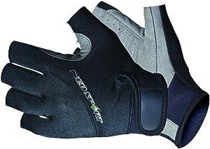 NeoSport 3/4 Finger Neoprene Gloves, 1.5mm Unisex Design, Biking, Sailing, Black