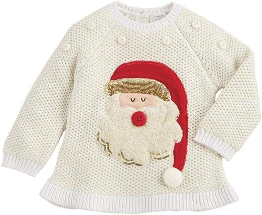 Mud Pie Kids Girls Christmas Alpine Village Santa Ivory Sweater