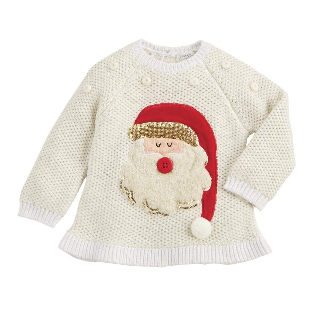 Mud Pie Kids Girls Christmas Alpine Village Santa Ivory Sweater Large (4T-5T) by Mud Pie