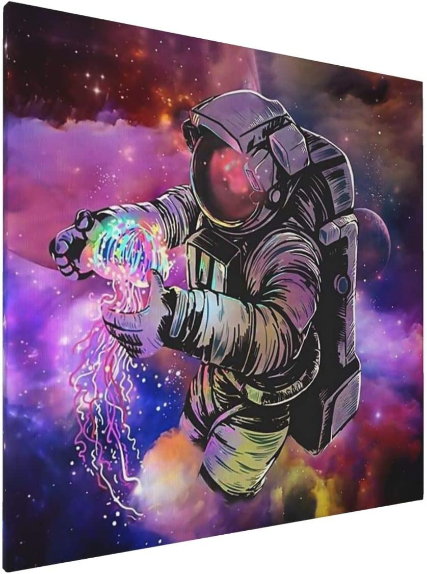 Psychedelic Neon Outer Space Fantasy Astronaut Holding Jellyfish Bohemia Wall Art Digital Painting Prints With Frame Ready To Hang Modern Picture For Room Home Wall Decoration Framed Pictures 20x20inch